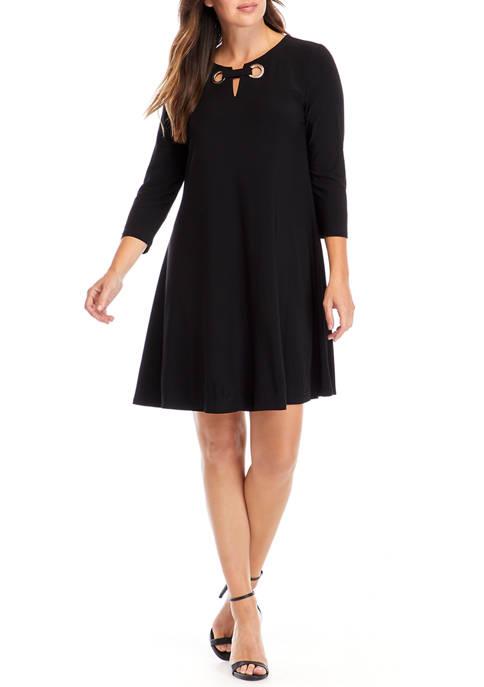 Womens Suzane Long Sleeve Grommet Swing Dress