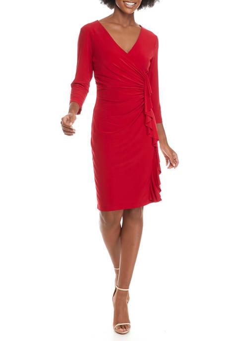 Kasper Womens 3/4 Sleeve Ruffle Faux Wrap Dress