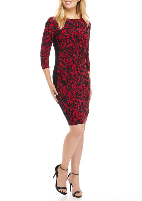Kasper Womens 3/4 Sleeve Scroll Print Sheath Dress