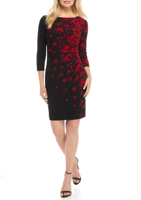 Womens 3/4 Sleeve Floral Side Ruched Dress