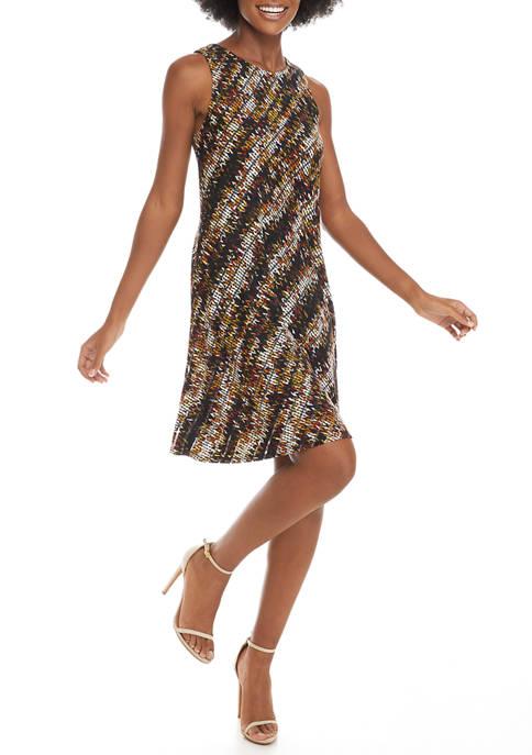 Womens Sleeveless Floral Stripe Dress