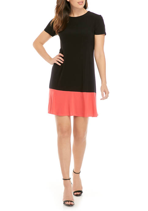 Womens Short Sleeve Color Block Fit and Flare Dress