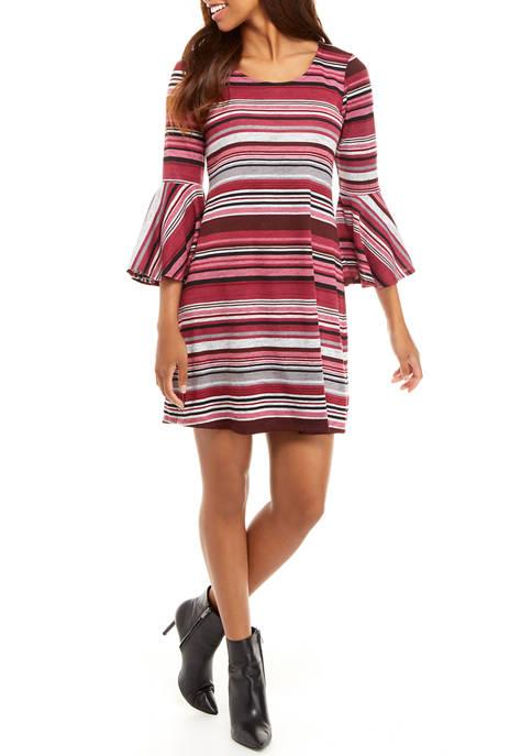 Tiana B Womens Multi Stripe Cozy A-Line Dress