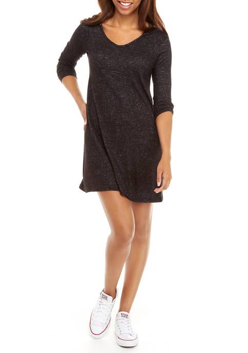 Womens Marled Hooded A Line Dress