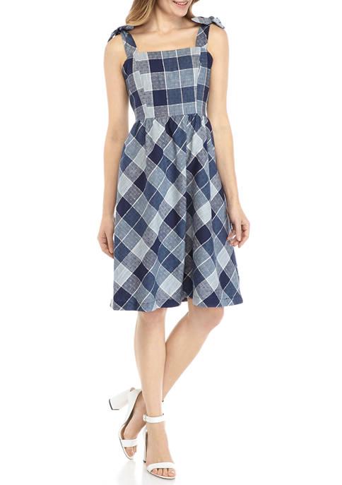 Womens Plaid Chambray Tie Shoulder Dress
