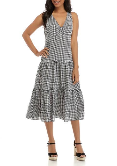 Womens Sleeveless V-Neck Tier Gingham Midi Dress