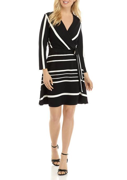 Womens 3/4 Sleeve Stripe Textured Wrap Dress