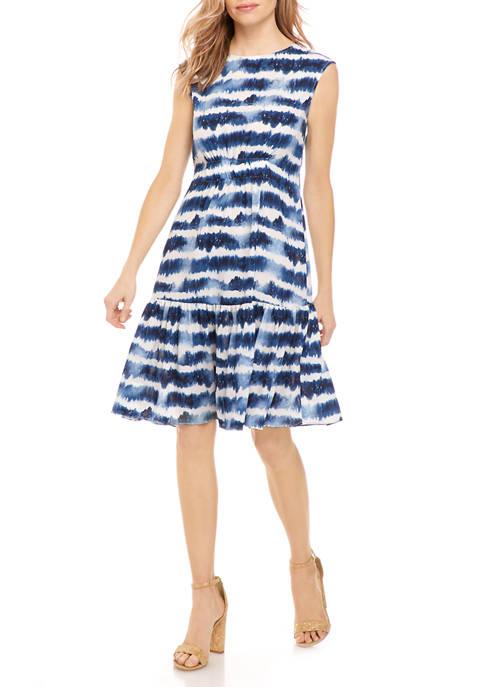 Womens Tie Dye Flounce Hem Dress