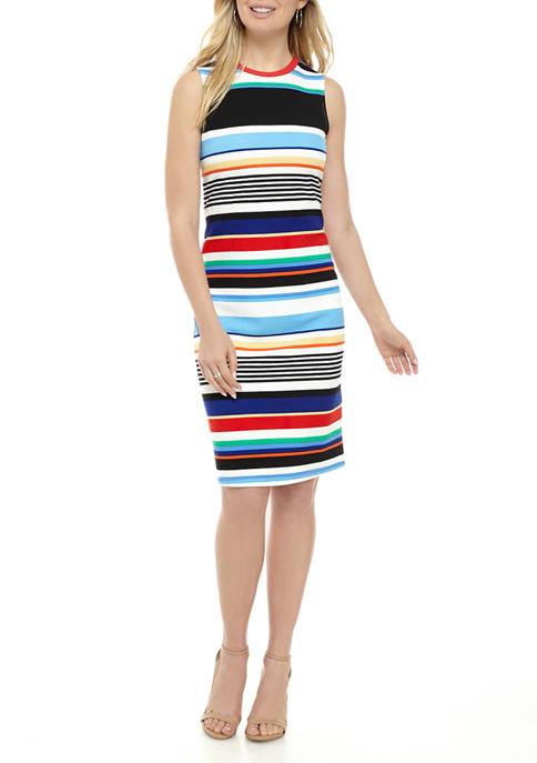 Womens Multi Stripe Textured Midi Sheath Dress