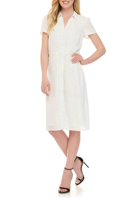 Womens Printed Button Front Shirt Dress