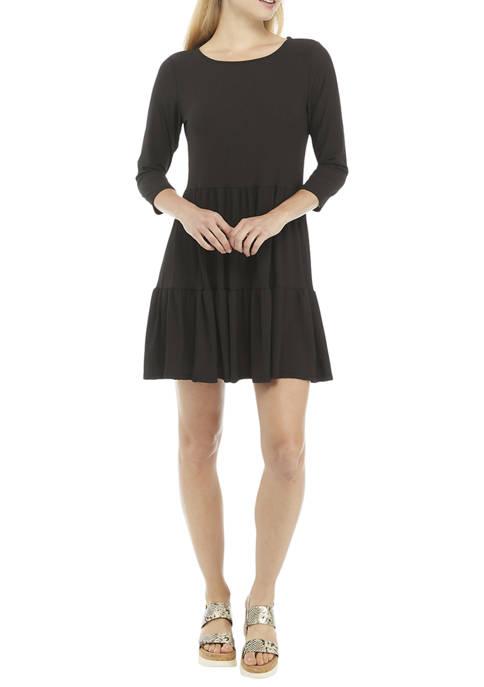 Hudson Harper Womens 3/4 Sleeve Ribbed Babydoll Dress