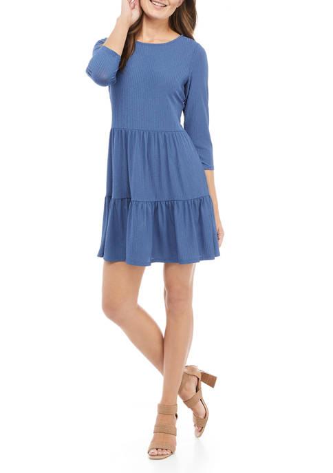 Womens 3/4 Sleeve Ribbed Babydoll Dress