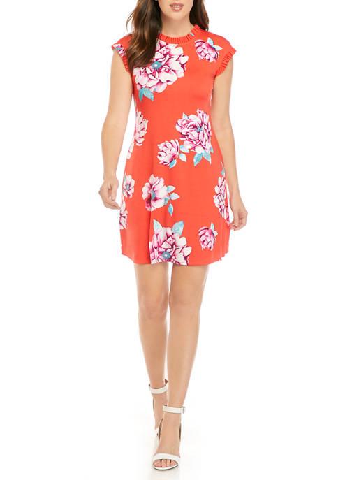 Womens Floral Ruffle Trim Dress