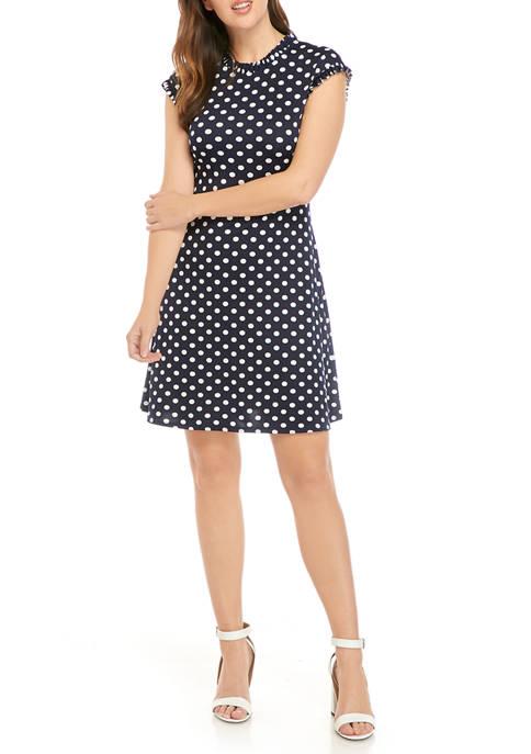 Juniors Dot Ruffle Trim Dress