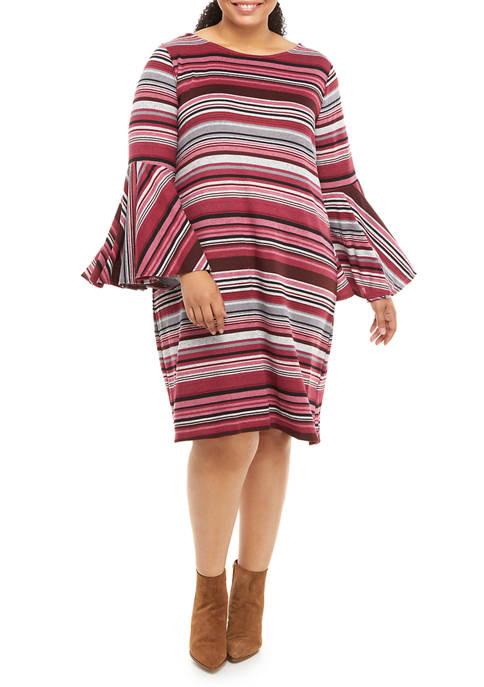 Plus Size Bell Sleeve Stripe A Line Dress