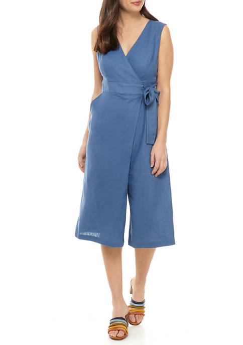 Womens Tie Wrap V-Neck Linen Jumpsuit