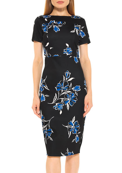Womens Scuba Midi Sheath Dress
