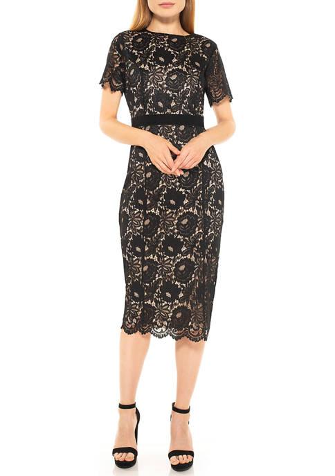 Womens Delora Lace Sheath Dress