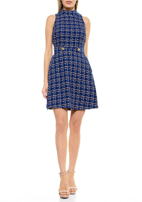 Alexia Admor Womens Remington Tweed Dress
