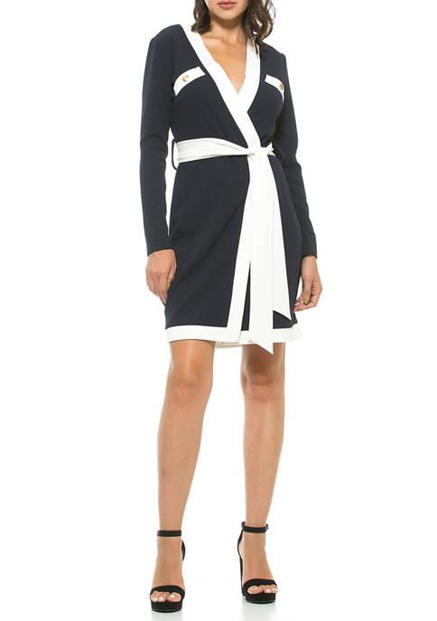 Alexia Admor Womens Contrast Wrap Dress