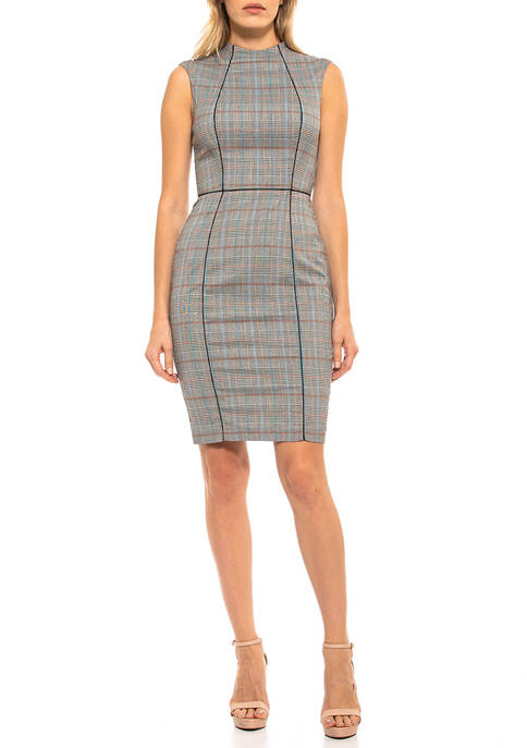 Alexia Admor Womens Piping Plaid Dress