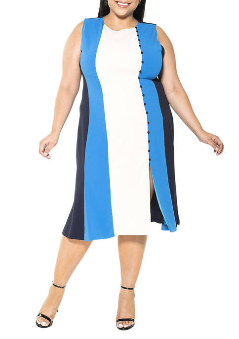 Alexia Admor Plus Size Anna Midi Colorblock Dress