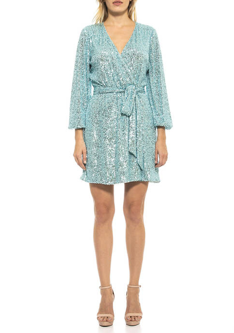 Alexia Admor Womens Emersyn Long Sleeve Sequin Dress