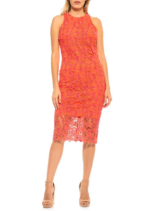 Womens Reese Lace Midi Dress