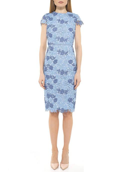 Alexia Admor Womens Arabella Midi Lace Dress