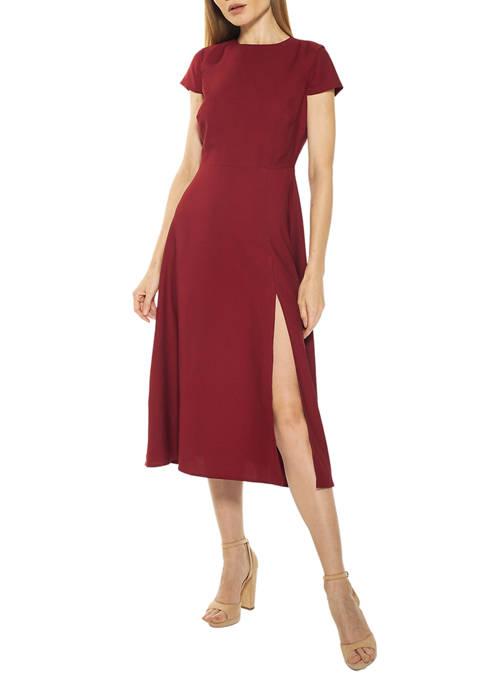 Alexia Admor Womens Lily Crew Neck Midi Dress
