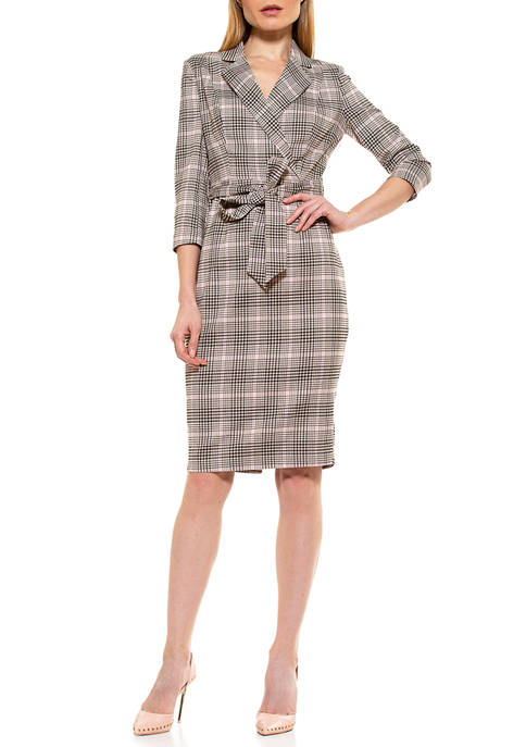 Alexia Admor Womens Jacqueline Belted Plaid Dress