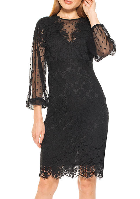 Alexia Admor Womens Lace Dress with Bubble Sleeves