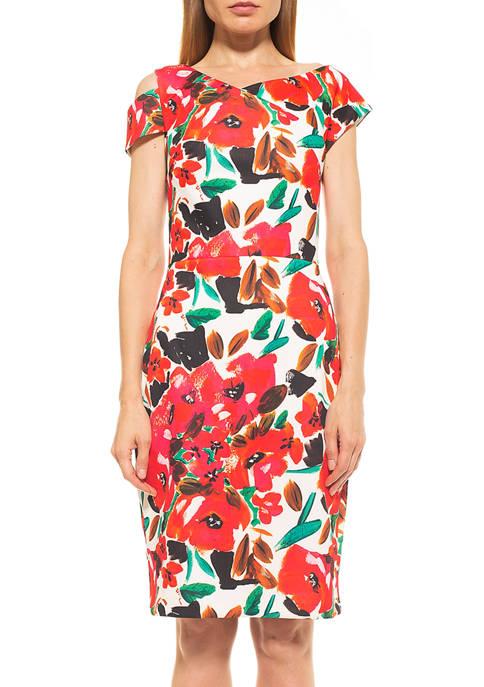 Alexia Admor Womens Robyn Asymmetric Neck Sheath Dress