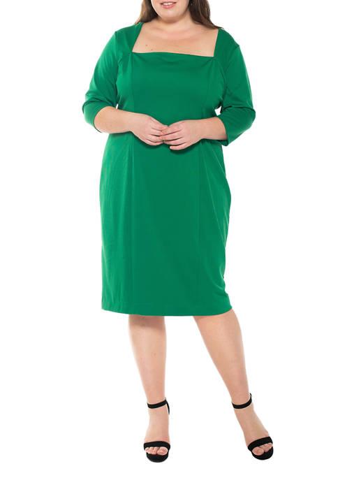 Alexia Admor Plus Size Marilyn Portrait Neck Sheath