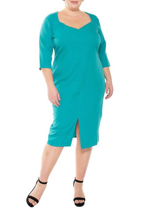 Alexia Admor Plus Size Sweetheart 3/4 Sleeve Sheath