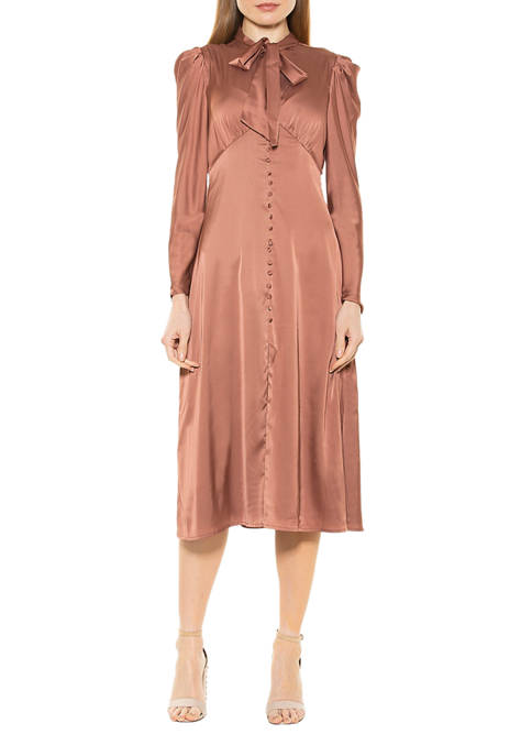 Womens Vicki Bow Tie Puff Sleeve Dress