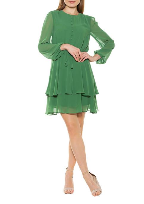 Alexia Admor Womens Balia Dropped Waist Ruffle Dress
