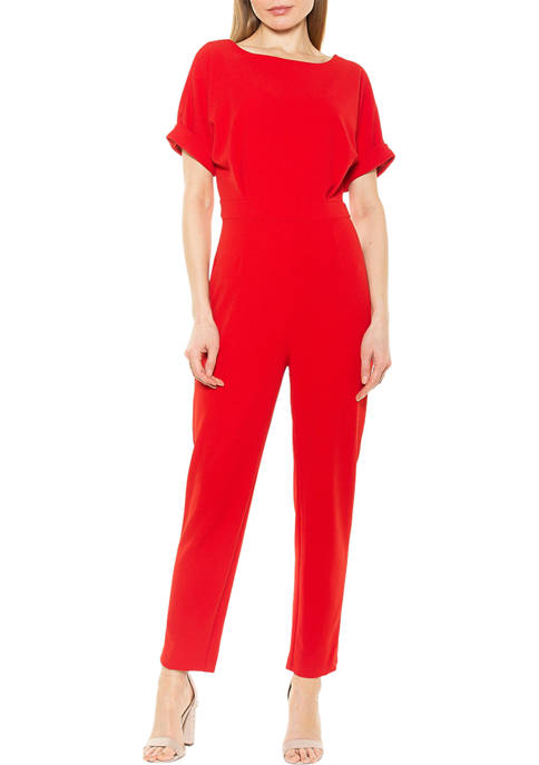 Womens Sadie Boat Neck Tapered Jumpsuit