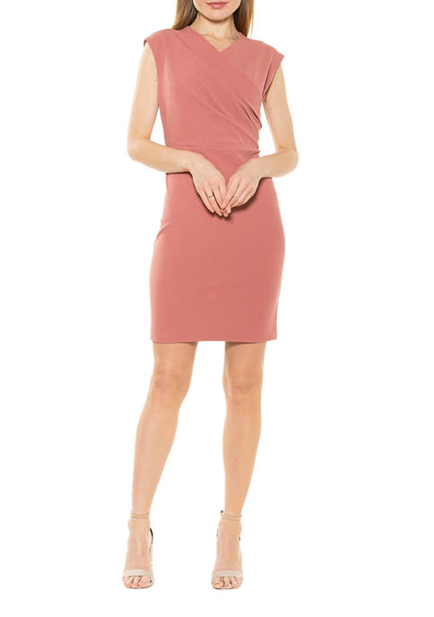 Alexia Admor Womens Wren Faux Surplice Sheath Dress