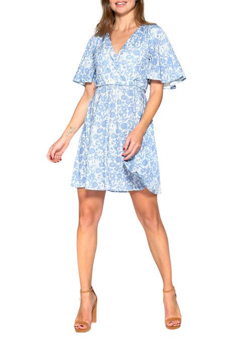 Alexia Admor Womens Oakless Flutter Sleeve Dress