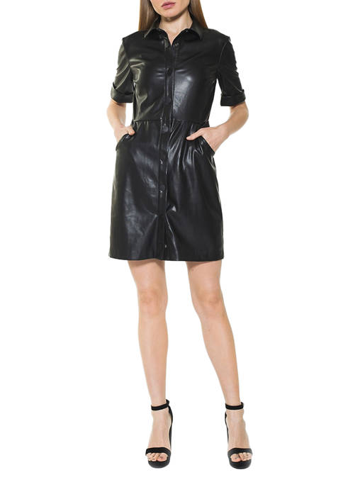 Alexia Admor Womens Janine Faux Leather Dress