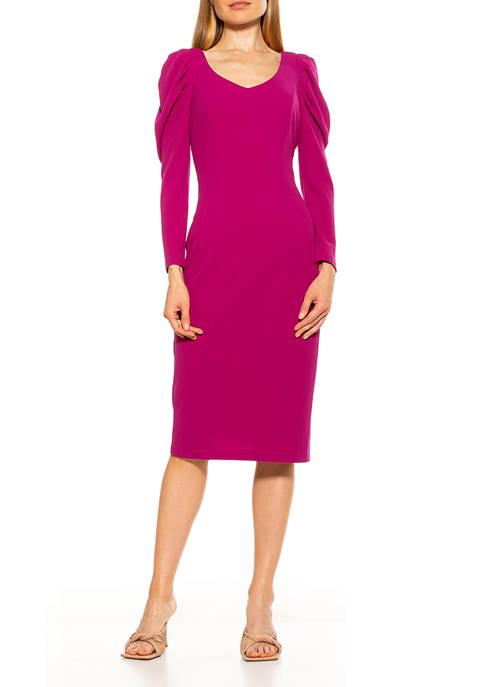 Alexia Admor Womens Puff Sleeve Sheath Dress