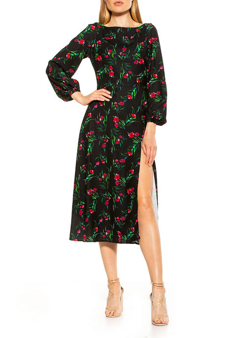 Alexia Admor Womens Boatneck Fit & Flare Dress