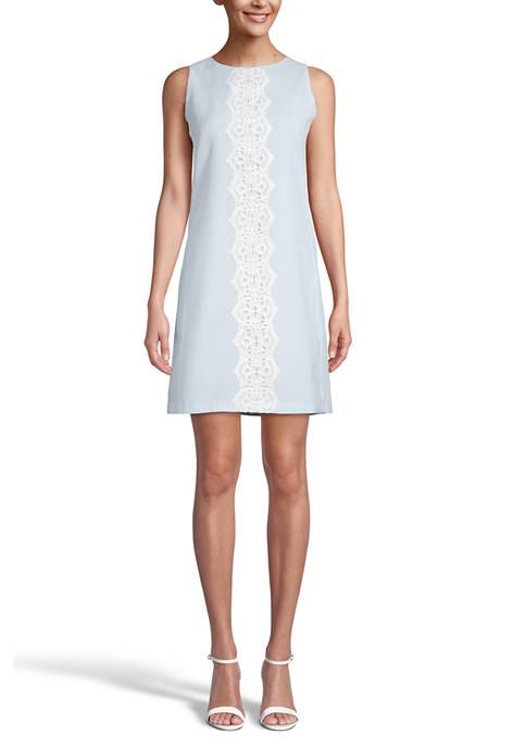 Seersucker Lace Front Shift Dress