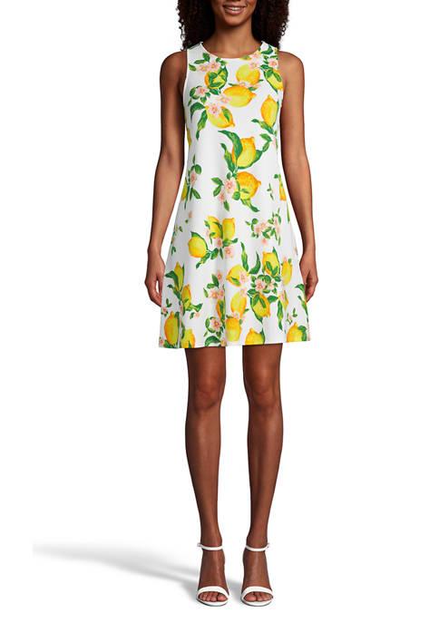 Lemon Printed Trapeze Dress