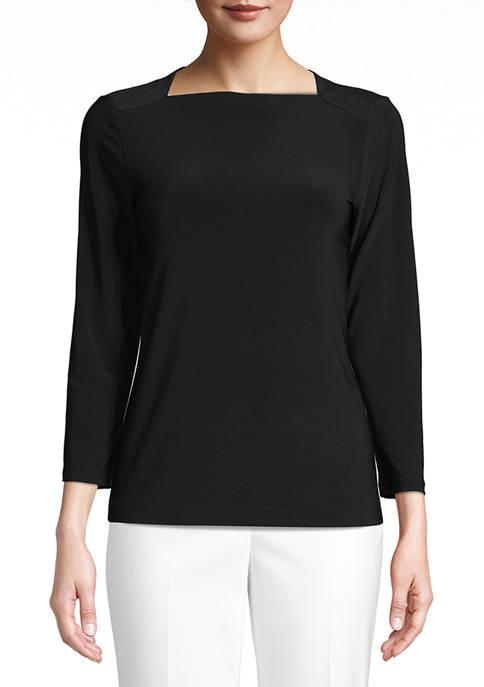 Anne Klein Womens Jersey Knit Envelope Sailor Top
