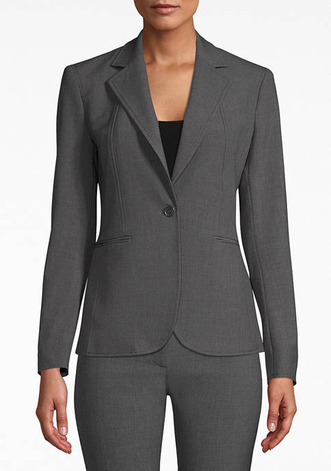 Anne Klein Womens Notch Collar One Button Blazer