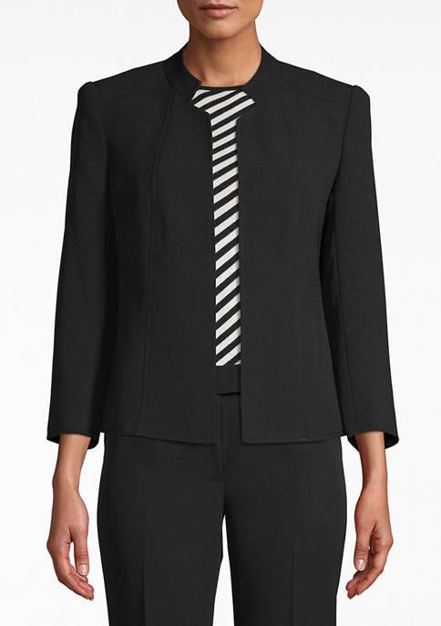 Anne Klein Womens Stand Collar Open Front Jacket