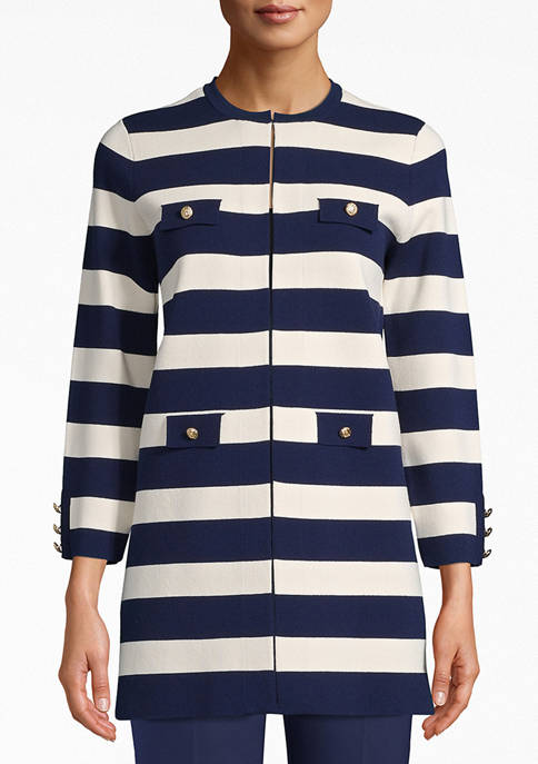 Anne Klein Womens Long Striped Cardigan Jacket