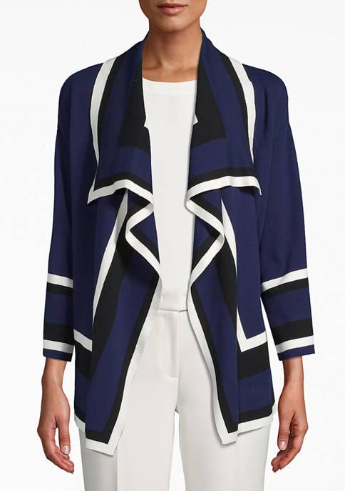 Womens Color Block Drape Front Cardigan